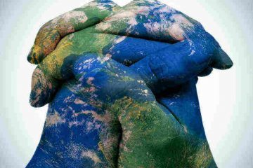 hands painted as globe - posthumanism