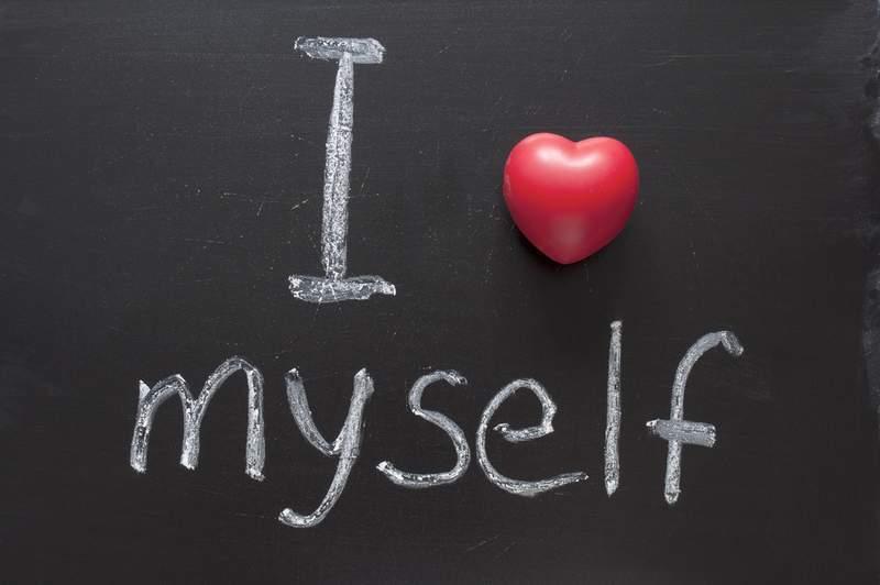 I love myself written in chalk on a blackboard
