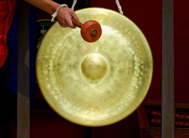 Tibetan gong in monastery in Kathmandu