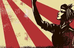 drawing of a woman worker raising fist - equality when?