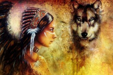 painting of young Indian woman with wolf