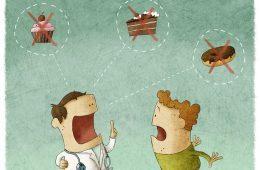 Doctor telling man not to eat sugar