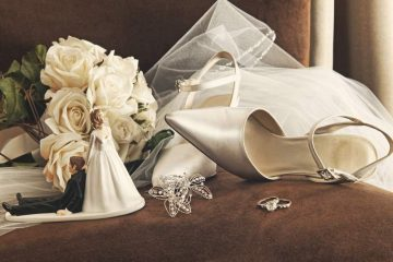 bridal bouquet, wedding shoes, veil and rings