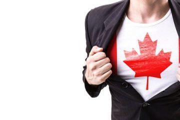 Canada flag under suit