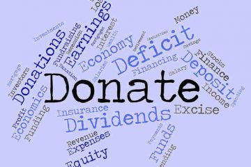 cluster of financial words around the word 'donate' - the giving business