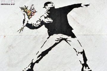 Nonviolence graffiti by Banksy