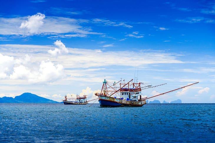 Fishermen in Thailand on Andaman sea