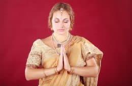 White woman wearing sari