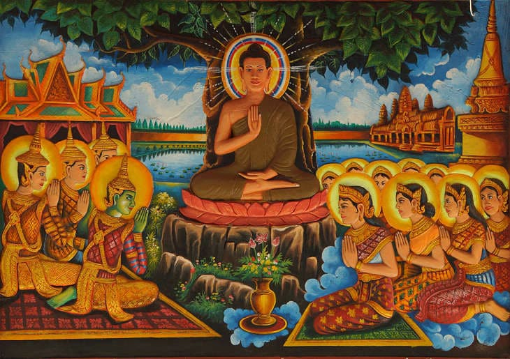Painting of Buddha with disciples