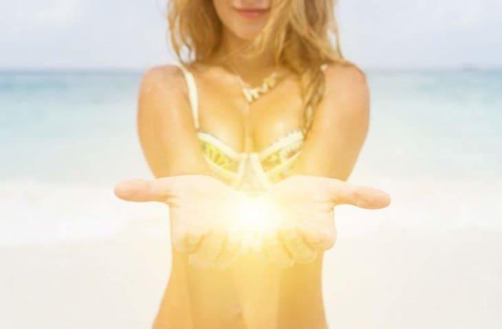woman giving light