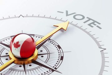 Compass showing Canadian flag pointing to the word vote