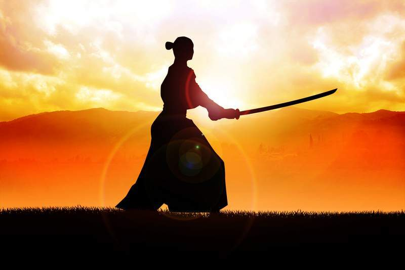 Samurai warrior at sunset