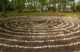 Labyrinth with bench - Poems by Erica Steinweg
