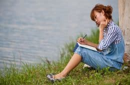 Woman in nature - writing