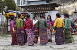 Bhutanese citizens celebrating a festival