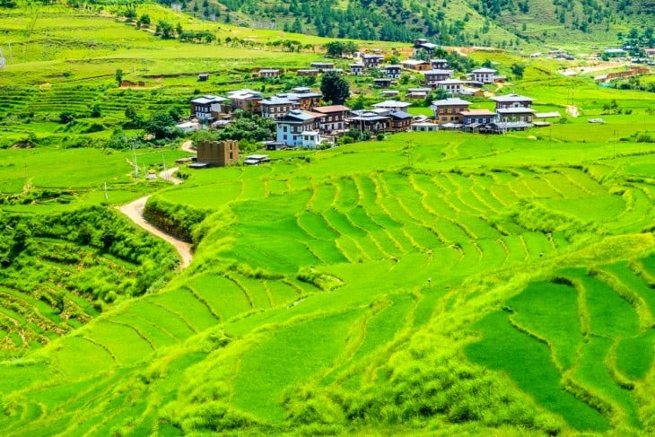 Farm land and small village in Bhutan