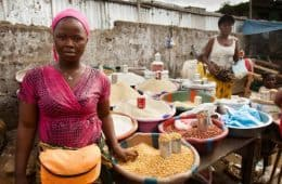 Entrepreneur woman selling food in Monrovia, Liberia