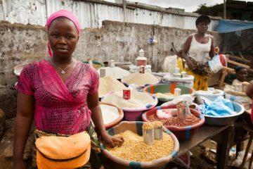Entrepreneur woman selling food in Monrovia, Liberia