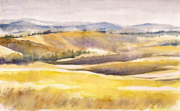 Yellow hills in watercolour - Poems by Stephanie Noble