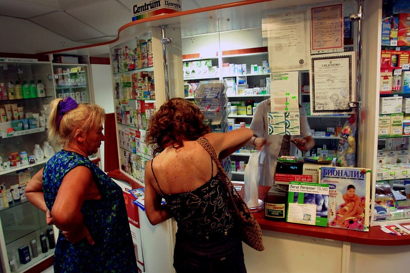 People in a line at a pharmacy in Kiev