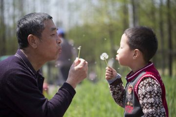 Grandfather and grandson blowing on dandelions - Impermanence fiction story