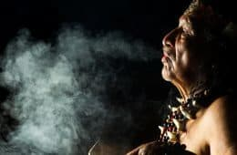 Shaman at ayahuasca ceremony in Ecuador