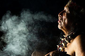 Shaman at ayahuasca ceremony in Ecuador