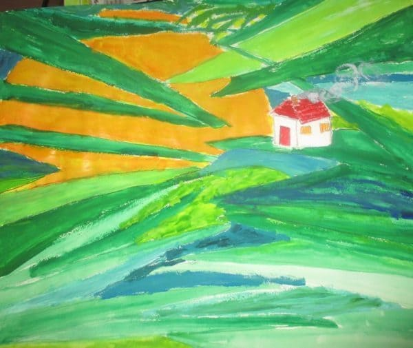 Painting of home in jungle - Plunging back into art