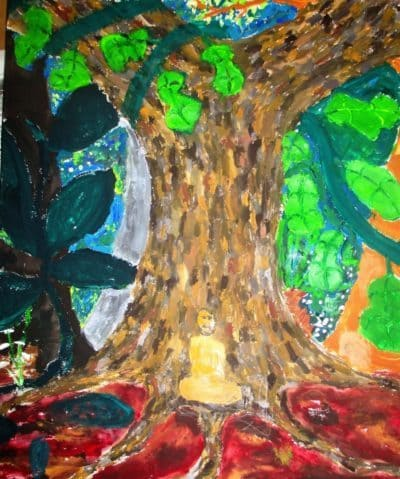 Painting of naked meditator under tree - Plunging back into art