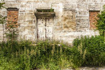 Old house with overgrown garden and locked door