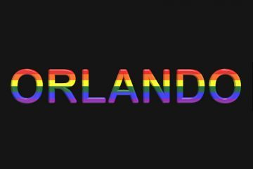 Black box with the word Orlando written in LGBT colours