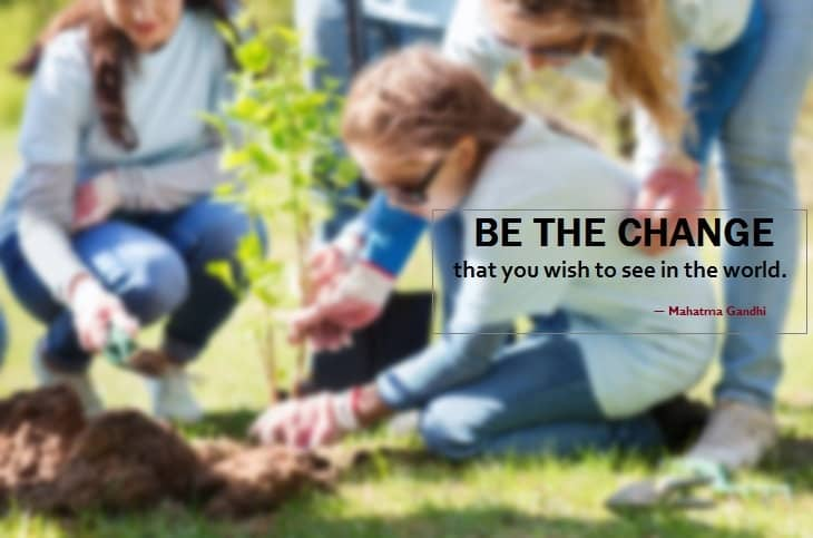 mahatma gandhi - tree planting - change - volunteers