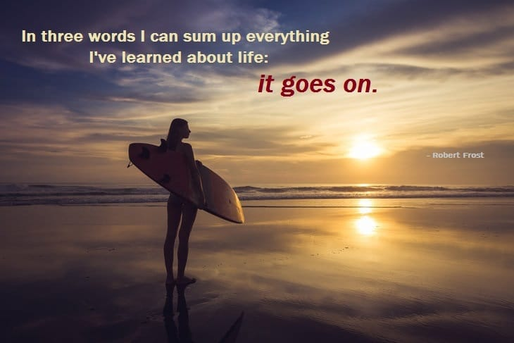 robert frost - moving on - girl - beach - reflection