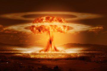 atom bomb over small city