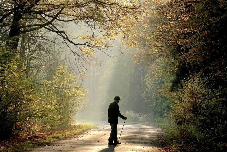 Older man walking on trail - Poems by Max Reif