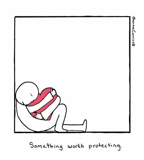 Illustration on protecting heart - Poems and illustrations by Leah Pearlman