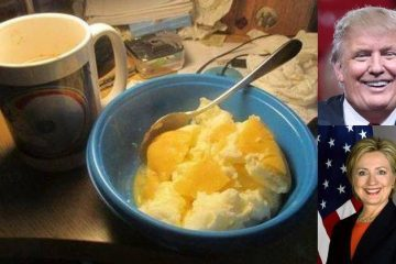 Eggs and cornmeal breakfast beside Trump and Clinton images - My breakfast and the U.S. election