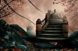 photo manipulation of man climbing stairs