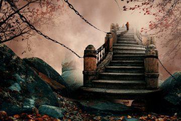 photo manipulation of man climbing stairs