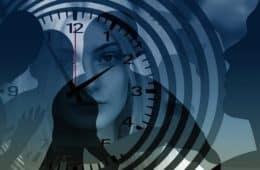 Drawing of bored woman looking at a clock