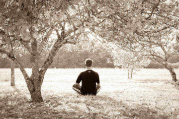 Young man meditating under tree in sepiatone - Metacognition and mindfulness