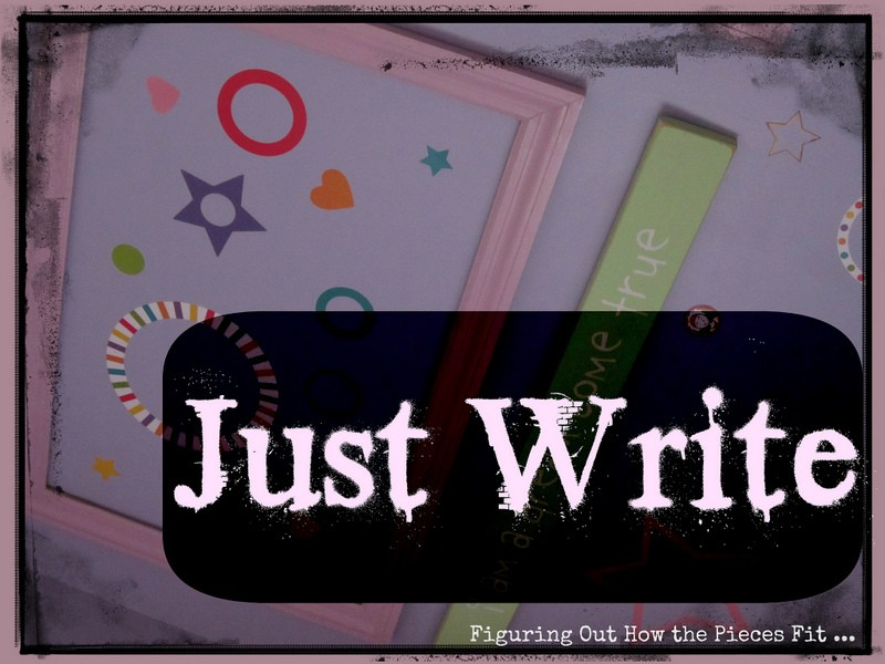 "Collage withe the words ""just write"" at the bottom"