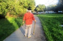 Older man with walking stick - Down the Trail