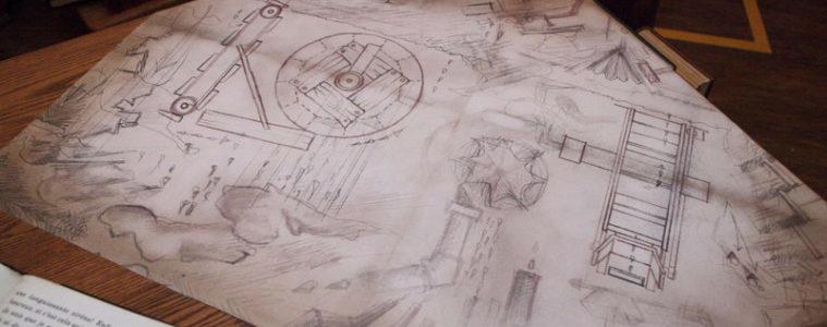 Blueprints inside Maurice's Cottage in New Fantasyland at Magic Kingdom