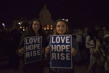 "Protesters with ""Love Hope Rise"" signs - An inner letter to Donald Trump"