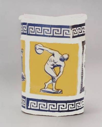 Cup with discus thrower on it - Queens Vision 1983