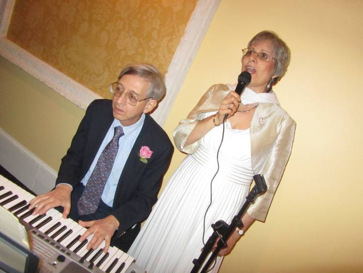 Author's friend David playing piano - Bhakti and The Great American Songbook