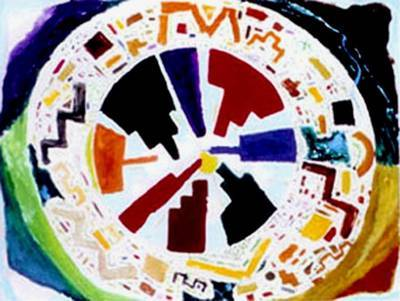 City/Self Mandala painting by Max Reif - A saga in symbols