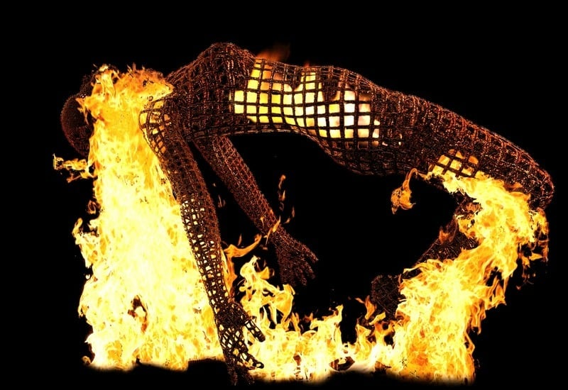 Burning woman sculpture