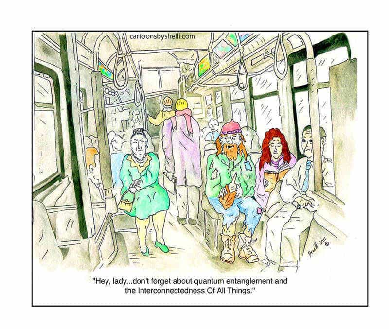 Bohemian man speaks to grouchy lady on bus - A cartoon by Shelli Pruitt